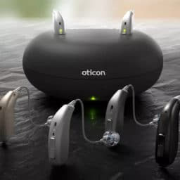 Oticon Hearing Aids and charging hub